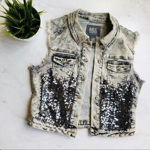 BKE Acid Wash Denim Vest Sequin Embellished MEDIUM